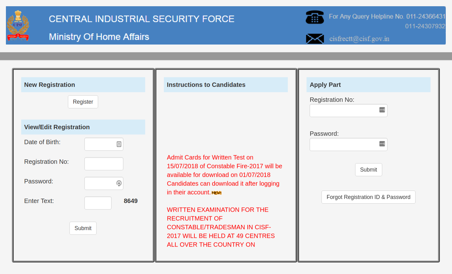 CISF Fire COnstable Admit Card