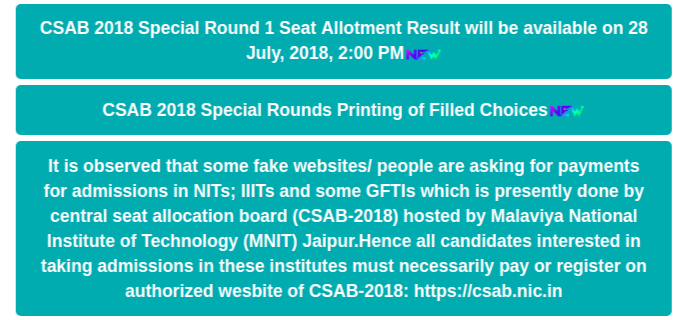 CSAB Special Round 1 Counselling Result