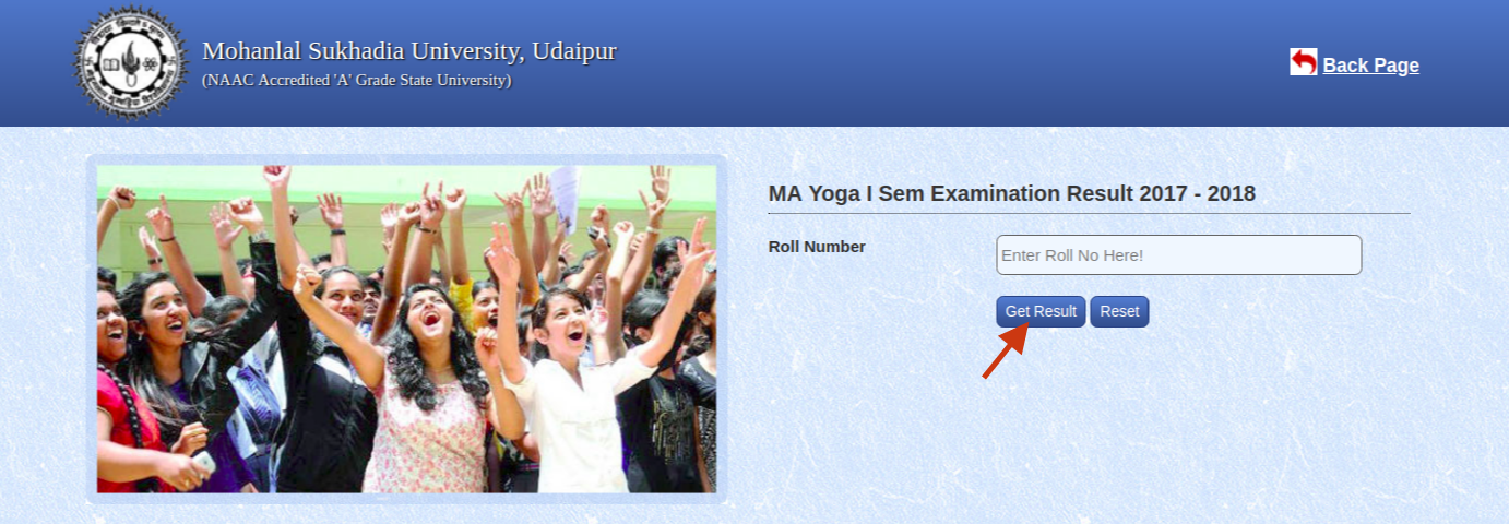 Click on Get Result button for MLSU Result