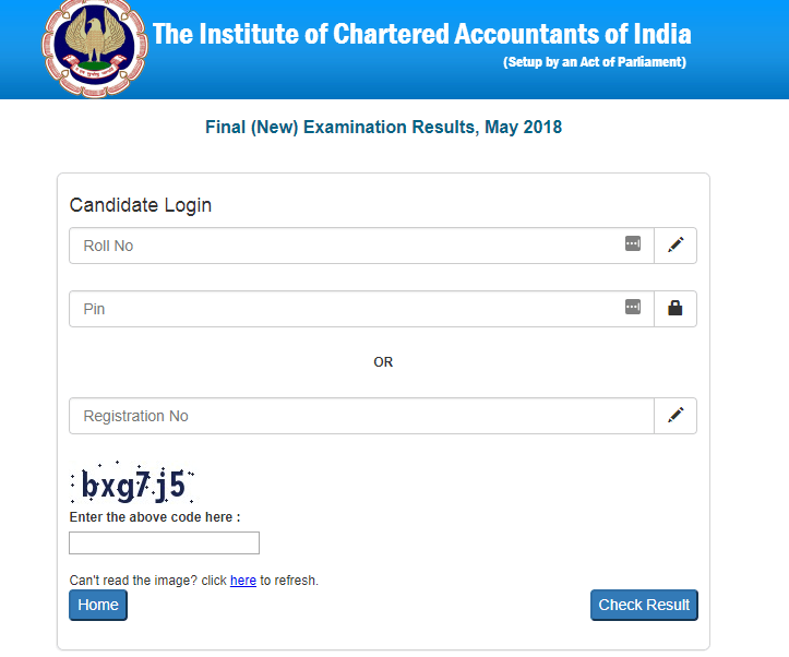 ICAI CA Result 2018 May