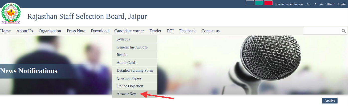 Select Answer KEy Option To Check RSMSSB Answer Key