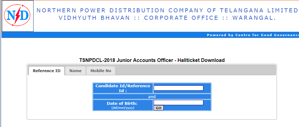TSNPDCL JAO Hall ticket 2018