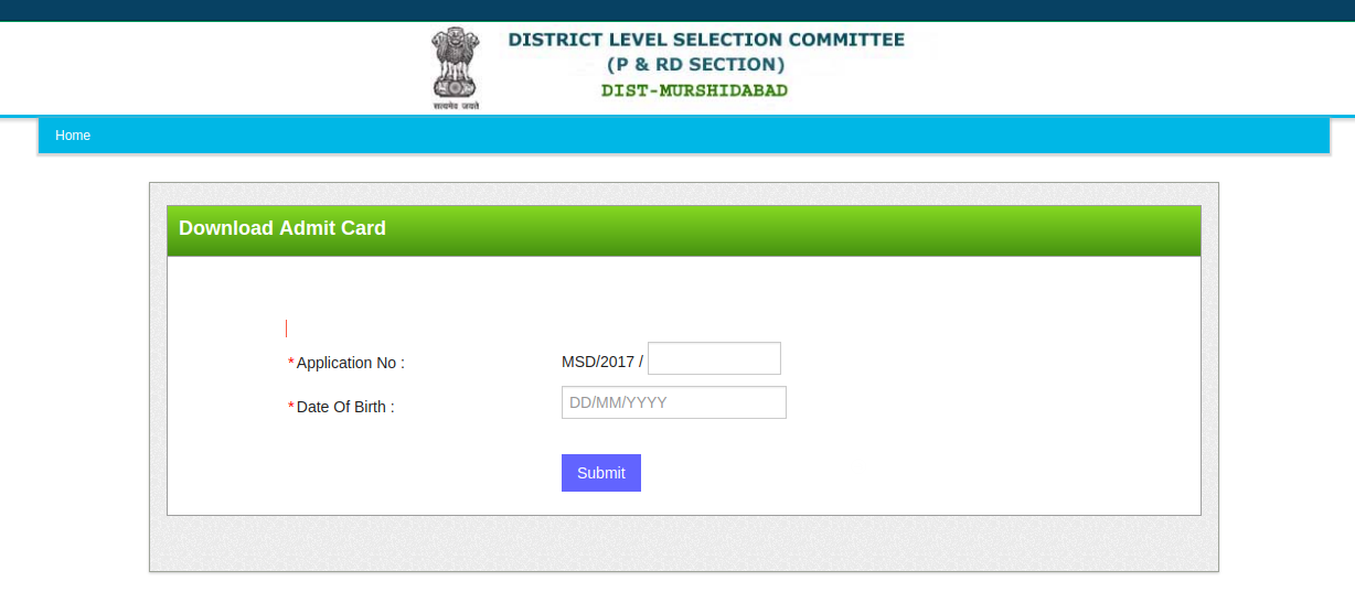 murshidabad application number