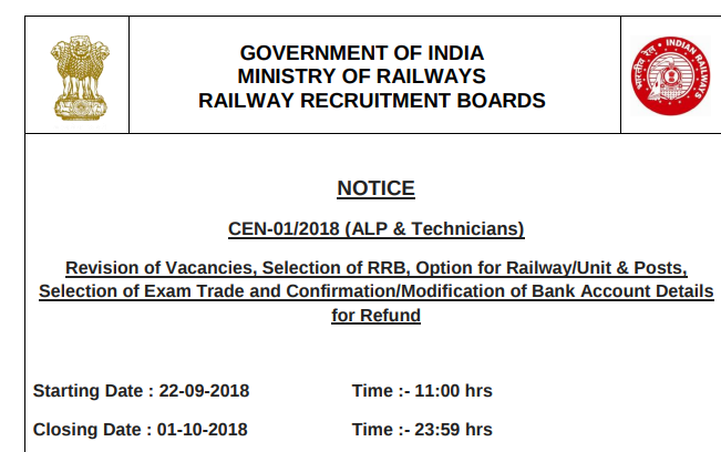 RRB ALP & Technician Increased vacancy