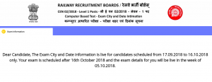 rrb group d exam center after 16th october exam