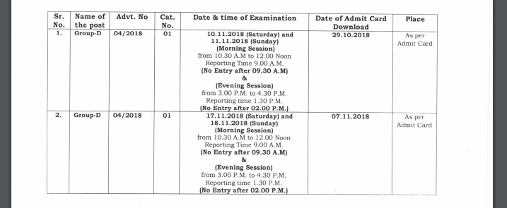 Haryana HSSC Group D Exam Date 2018