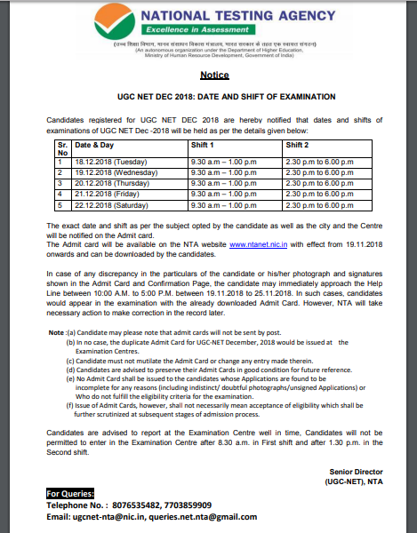UGC Net December Exam Date 2018