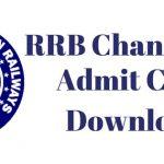 RRB Chandigarh Admit Card