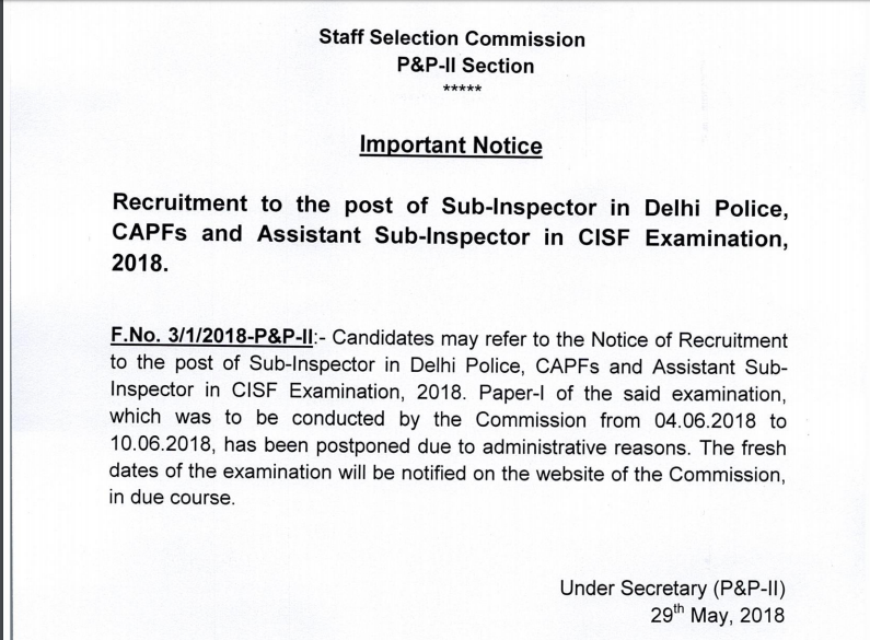 SSC CPO Admit Card Date 2018