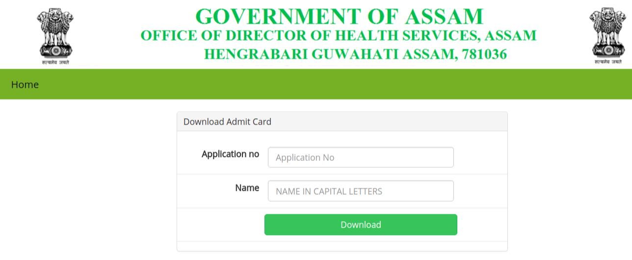 DHS Assam Admit Card 2018
