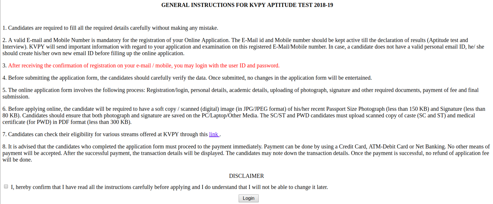Instruction for kvpy application form 2018