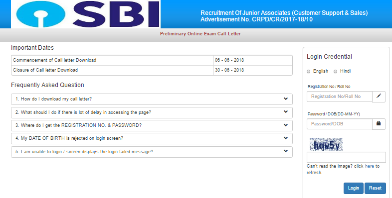 SBI Clerk Admit Card 2018 Download
