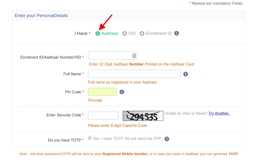 Step 3 To Download Aadhaar Card By Aadhaar Numner