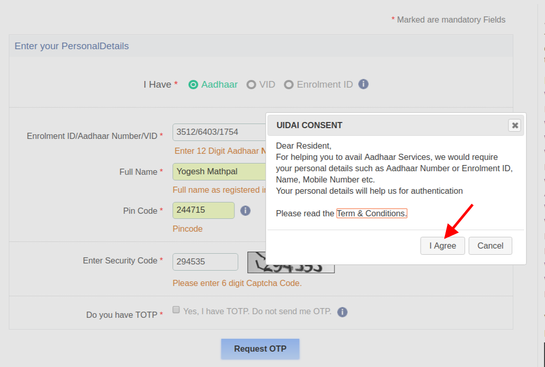 Step 5 To Download Aadhaar Card By Aadhaar Number
