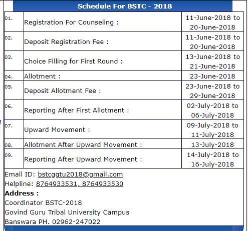ggtu bstc counselling schedule 2018