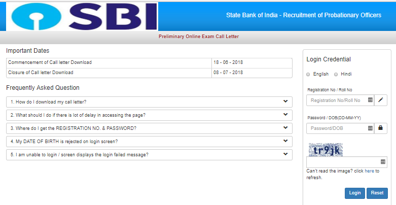 sbi po admit card 2018 downoad