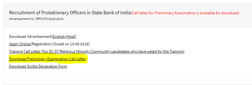 sbi po pre admit card download
