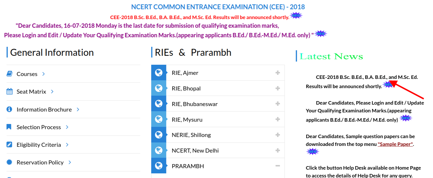 RIE CEE Result Date 2018