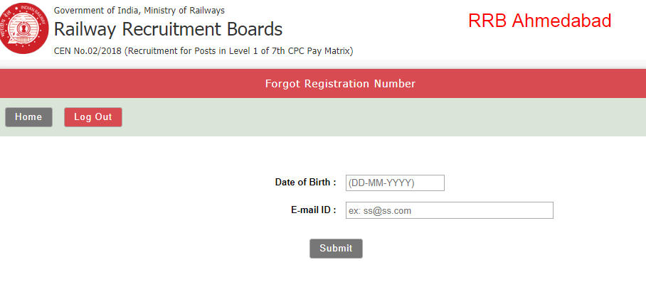 RRB Group D Forget registration Number
