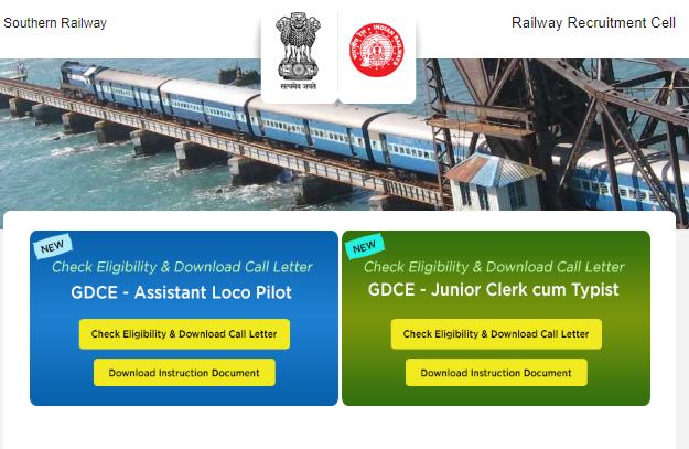 RRC Chennai Southern railway GDCE ALP Admit card 2018