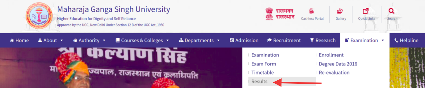 Select Result Option For MGSU Result 2018
