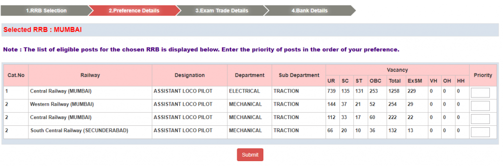 RRB ALP Application Modification Step 5