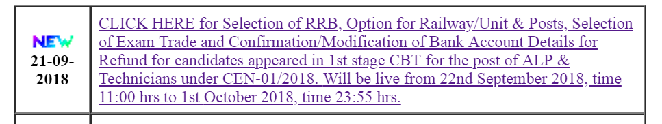 RRB ALP Application Modification