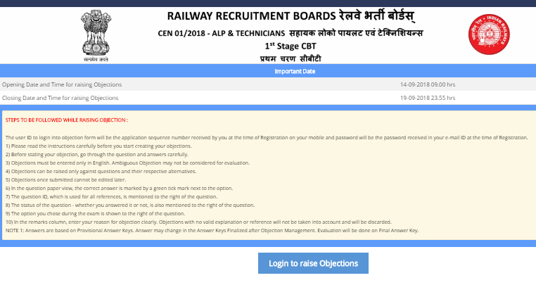 RRB ALP Answer Key 2018 Objection