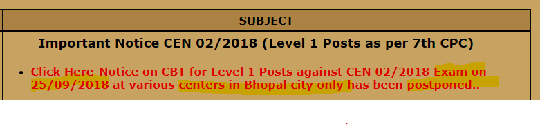 RRB Bhopal 25th September 2018 CBT Exam Postponed for Bhopal City only