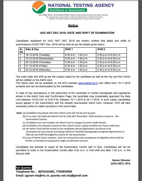 UGC Net December Exam Date 2018