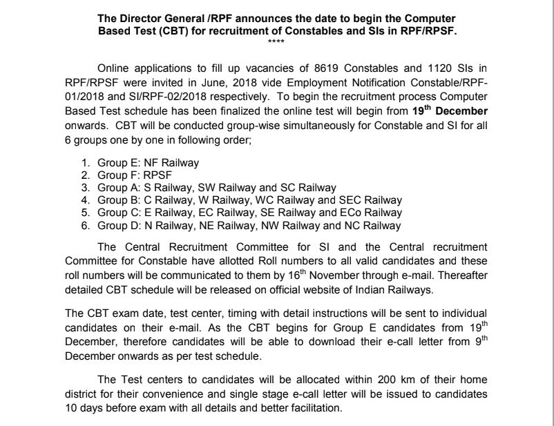 RPF Roll Number Notice