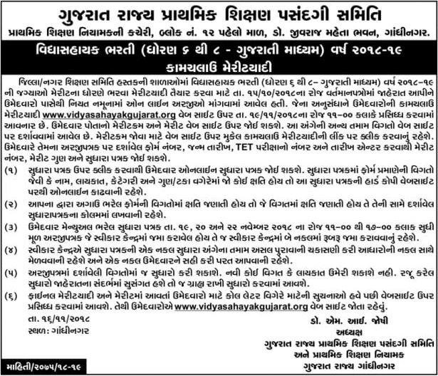 Vidhyasahayak Merit List Notice