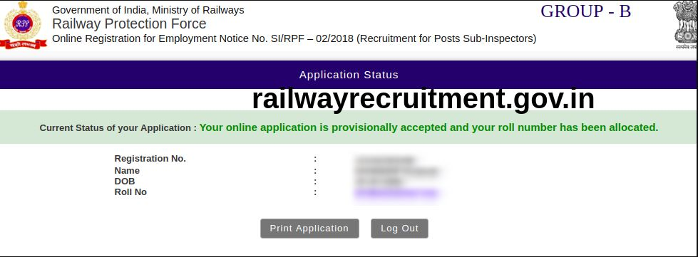 RPF Application Status 2018 Released: RPF SI & Constable Application